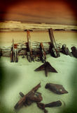 Old wooden shipwreck stock image