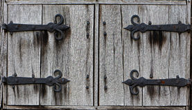 Old wooden shutters of the farm house Royalty Free Stock Photos