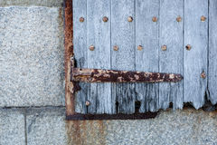 Old Wooden Shutters with Rusty Metal Stock Photography
