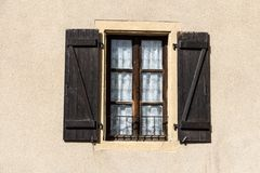 Old wooden shutters on window in Metz, Alsace, France Royalty Free Stock Photography