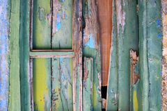 Old Wooden Shutters With Peeling Paints Stock Photo