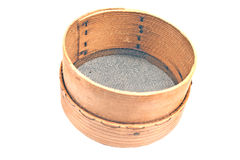 Old wooden sieve for flour Stock Photo