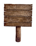 Old wooden sign board or post