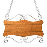 Old wooden sign on the chains. Stock Image