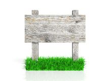 Old wooden sign with grass Stock Photos