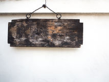 Old wooden sign hanging Royalty Free Stock Photography