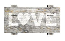 Old wooden sign with LOVE text Royalty Free Stock Images