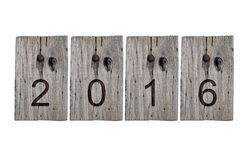2016 on old wooden sign Royalty Free Stock Image