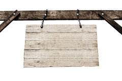 Old wooden signboard with chains in white background. Stock Photos