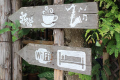 Old wooden signboard Stock Images