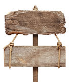 Old wooden signpost. Isolated on a white background stock photos