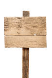 Old wooden signpost. Isolated on white royalty free stock photo
