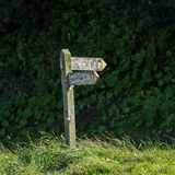 Old wooden signpost for backpackers Royalty Free Stock Image