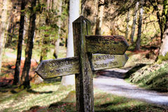 An old wooden signpost in the lake district Royalty Free Stock Photo