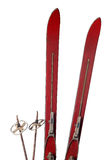 Old wooden skis on white Royalty Free Stock Images