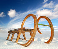 Old wooden sledge. Winter landscape with old wooden sled Stock Images