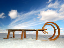 Old wooden sledge. Winter landscape with old wooden sled Stock Photography
