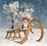 Old wooden sledge Royalty Free Stock Photos