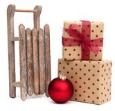Old wooden sledge with presents Royalty Free Stock Images