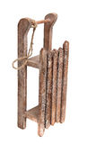 Old wooden sledge with rope Stock Images