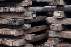 Old wooden sleeper. Group of old wooden sleeper Royalty Free Stock Photo