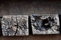 Old wooden sleeper. Group of old wooden sleeper Royalty Free Stock Images