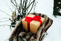 Old wooden sleigh with a gift in golden paper box wrapped red gift ribbon, are in the winter forest, snow, trees near. Wooden sled Stock Image