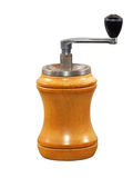 Old wooden spices grinder.Isolated. Royalty Free Stock Photo