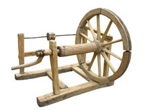 Old wooden spinning-wheel Stock Image