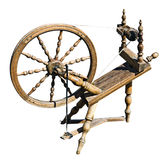Old wooden spinning wheel Stock Image
