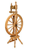 Old Wooden spinning Wheel isolated on white Stock Photo