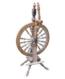 Old Wooden spinning Wheel isolated on white Stock Images