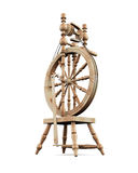 Old wooden spinning wheel on white background. Royalty Free Stock Image