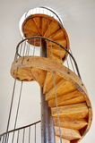 Old wooden spiral staircase - Chindia Tower - landmark attraction in Targoviste, Romania Stock Image