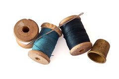 Old wooden spools Royalty Free Stock Images