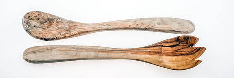 Old wooden spoon and wooden fork Stock Photos