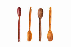 Old wooden spoons Isolated on white Royalty Free Stock Image