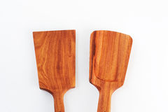 Old wooden spoons and stirrers. Isolated Stock Photography