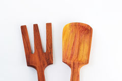 Old wooden spoons and stirrers. Isolated Royalty Free Stock Photography