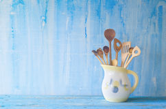 Old wooden spoons in a vintage jar, Royalty Free Stock Image