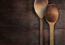 Old wooden spoons on the wood table Stock Image