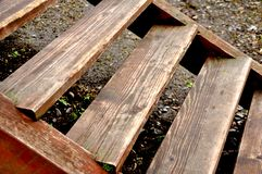 Old wooden staircase stock photography