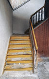 Old wooden stairs. Old wooden outdoor stairs. Ancient house building Royalty Free Stock Images