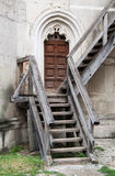 Old wooden stairs. Old entrance to the fortress with wooden stairs and doors Stock Photos
