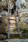 The old wooden stairs. On a cliff that leads to the monastery Royalty Free Stock Photos