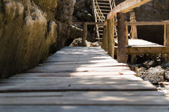 Old wooden stairs. A close up shot of some old weathered beach stairs covered in sand royalty free stock photos