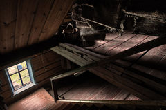 Old wooden stairs interior. In old country house Royalty Free Stock Photo