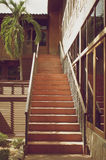 Old wooden stairs made from wood in vintage style Royalty Free Stock Image