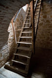 Old wooden stairs in the tower Royalty Free Stock Image