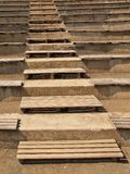 Old wooden stairs in traditional garden, tourist footpath Stock Photo